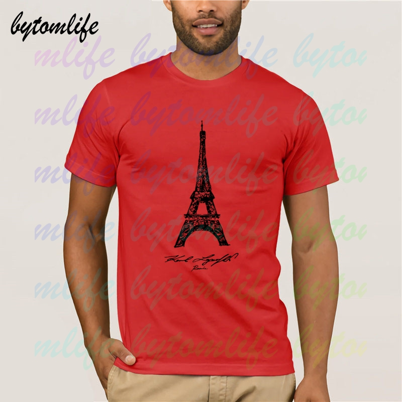 Karl Paris Eiffel Tower Lagerfeld T Shirt Summer Print White T Shirt Clothes Popular Tees Amazing Short Sleeve Unique Men Tops