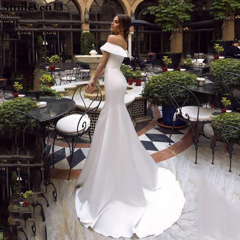 2019 Bohemian Mermaid Wedding Dresses Satin Off The Shoulder Bridal Gowns  Vestido De Noiva Princess Wedding Gowns