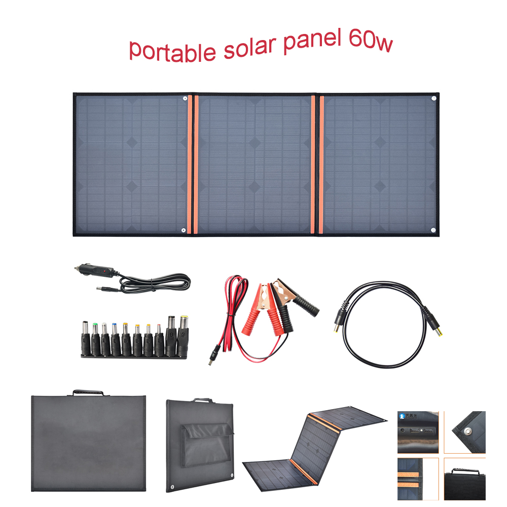 18v 20W Solar Panels 40w 50w 60w Portable Folding Foldable 5V 2 1A 3A USB Solar Panel Charger Power Bank for Phone Battery in Solar Cells from Consumer Electronics