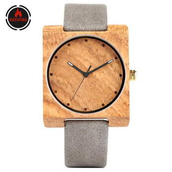 REDFIRE Women Wood Watches Unique Square Wooden Case Simple Dial Casual Fashion Lady Wristwatches Quartz Clock Reloj femenino bobo bird zebra series wood watches simple wooden dial quartz wristwatch for gift