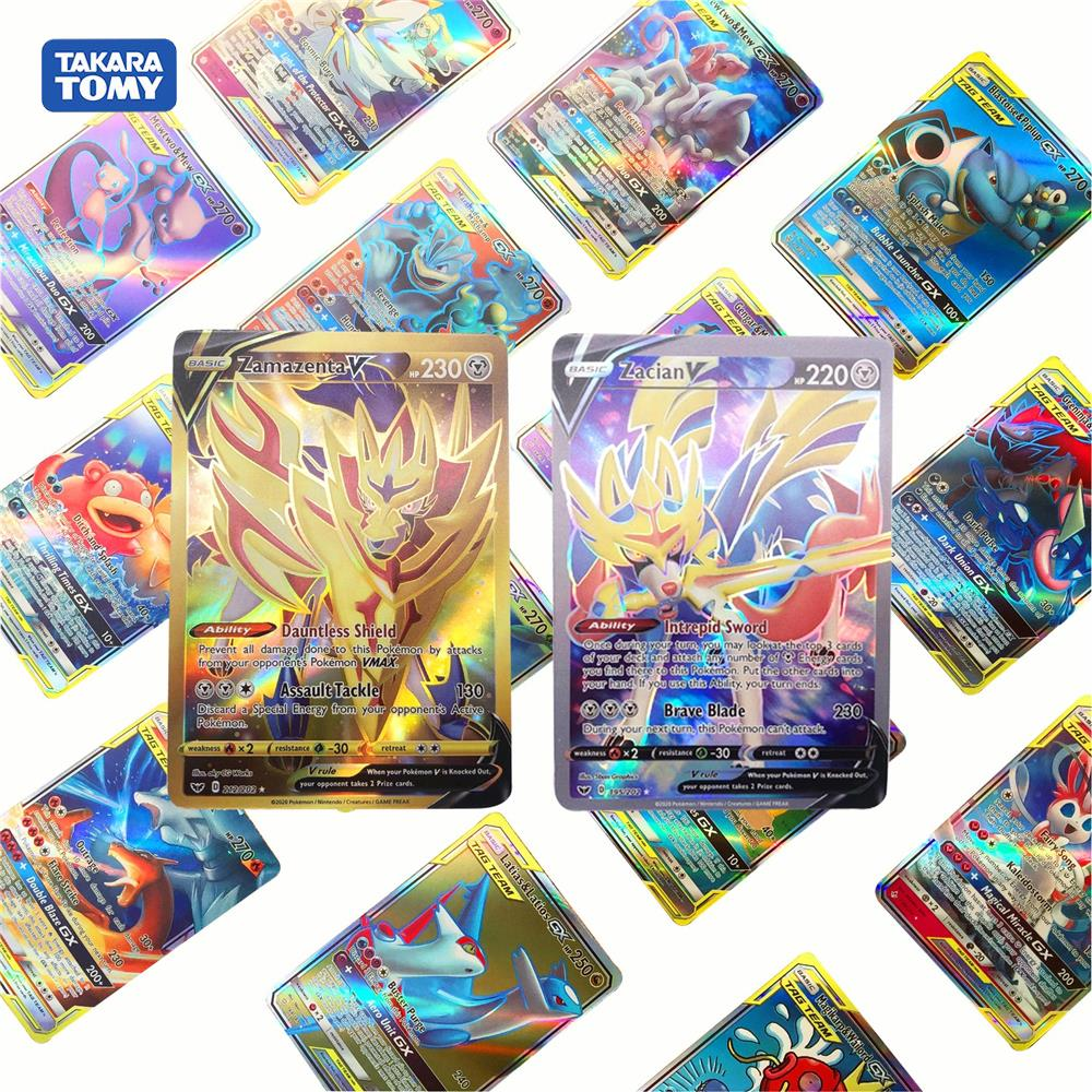 2020 New Pokemon No Repeat Mega Sun & Moon Sword Shield VMAX Zacian Zamazenta Shining Battle Trading Carte Game Children Toys