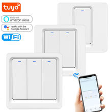 Tuya WiFi Switch 86 EU Light Switch Smart Touch On/Off Toggle Wall Switches Remote Voice with Alexa Google Home 1 2 3 gang 220V