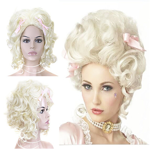 Image 5 - شعر مستعار الاصطناعية الشعر الأبيض شقراء ماري أنطوانيت الأميرة الباروكة لعيد الهالوين زي