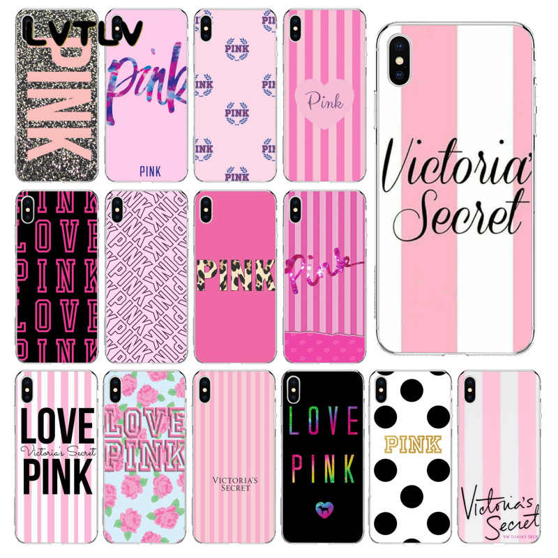 LVTLV Victoria VS LOVE PINK TPU Soft Silicone Black Phone Case for iPhone 11 pro XS MAX 8 7 6 6S Plus X 5 5S SE XR