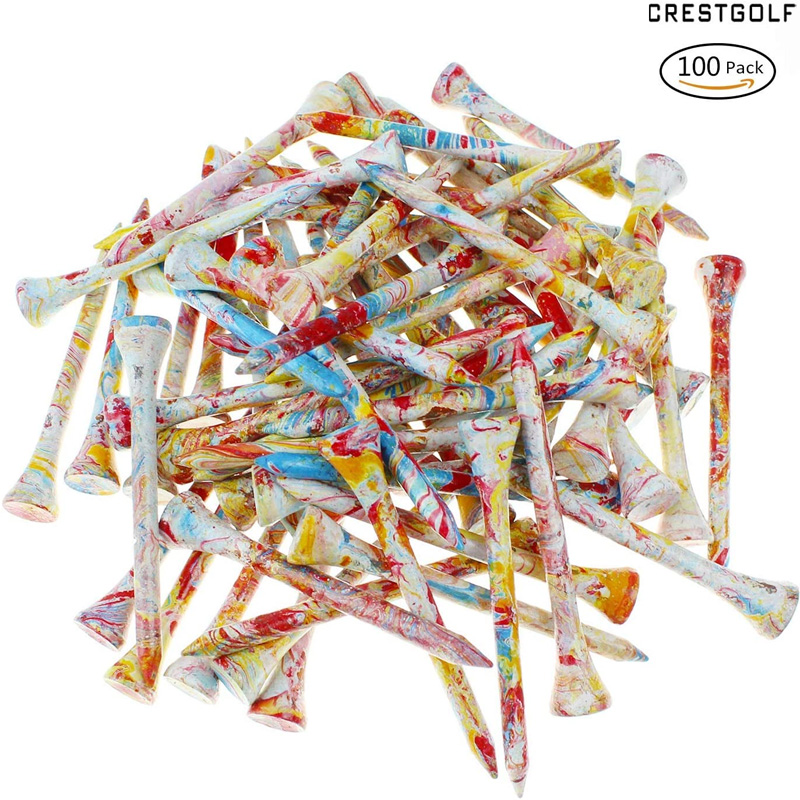 "CRESTGOLF 100pcs/Pack 70mm/ 2.75"" Wooden Golf Tees Golf Wood Tees Colorful Golf Wood Tees 1"
