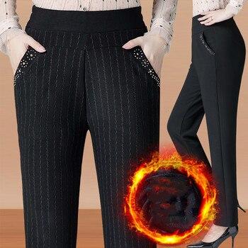 Pantalones de talla grande para mujer de mediana edad 5XL 6XL, pantalón holgado para mujer de cintura alta elástica, pantalón holgado informal, Pantalones rectos cálidos para invierno AH173
