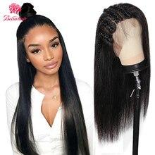360 парик с фронтальным кружевом, бразильские прямые волосы, парик с фронтальным кружевом 360, парик с кружевной тесьмой, Remy, полные Детские вол...
