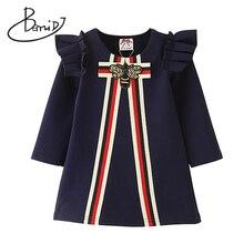 2019 verão vestidos da menina do bebê 3 8 ano camiseta crianças meninas vestidos de algodão três quartos tops crianças festa princesa vestido da menina