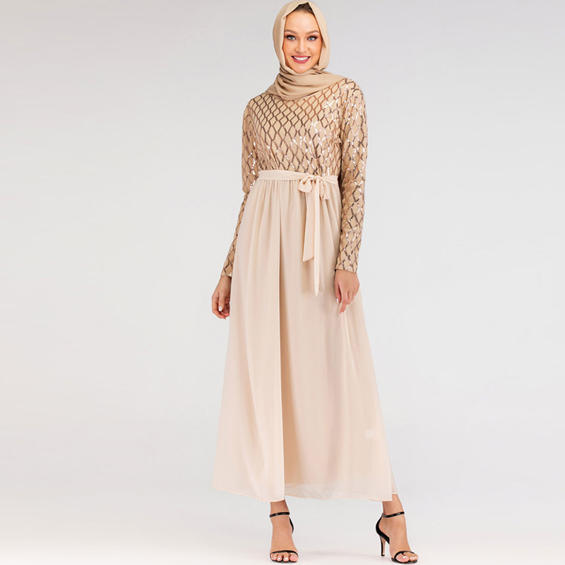Hijab Muslim Dress Sequin Abaya Dubai Turkish Dresses Women Islam Caftan Marocain Kaftan Qatar Omani Islamic Clothing Robe Femme