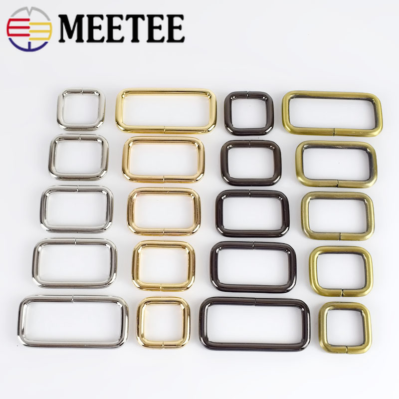 10Pcs Meetee Rectangle Metal Buckles Webbing Belt Ribbon Buckle Clasp Handbag Strap Clips Adjuster DIY Hardware Accessories F4-5