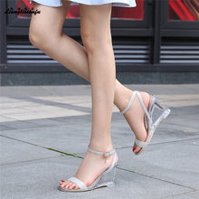 LLXF 8cm High-heeled Shoes woman Stiletto female Transparent Crystal wedges Sandals Peep Toe cross Strap Sequins wedding Pumps(China)