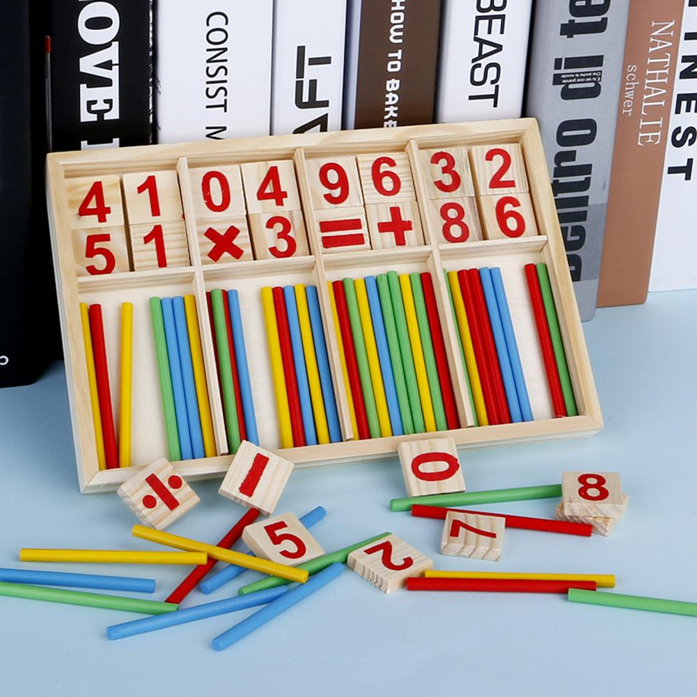 Kids Montessori Wooden Number Math Game Sticks Educational Toy Puzzle Teaching Aids Set Mathematical Learning