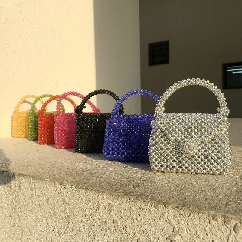 Handmade Pearl Bag Beaded Box Tote Women Party Retro Acrylic Plastic Tote Bag 2020 Summer Luxury Brand Dinner Bag Wholesale