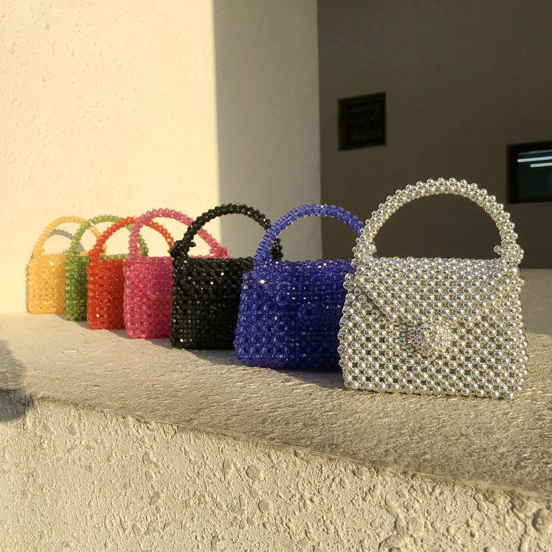 Handmade Pearl Bag Beaded Box Tote Women Party Retro Acrylic Plastic Tote Bag 2020 Summer Luxury Brand Dinner Bag Wholesale
