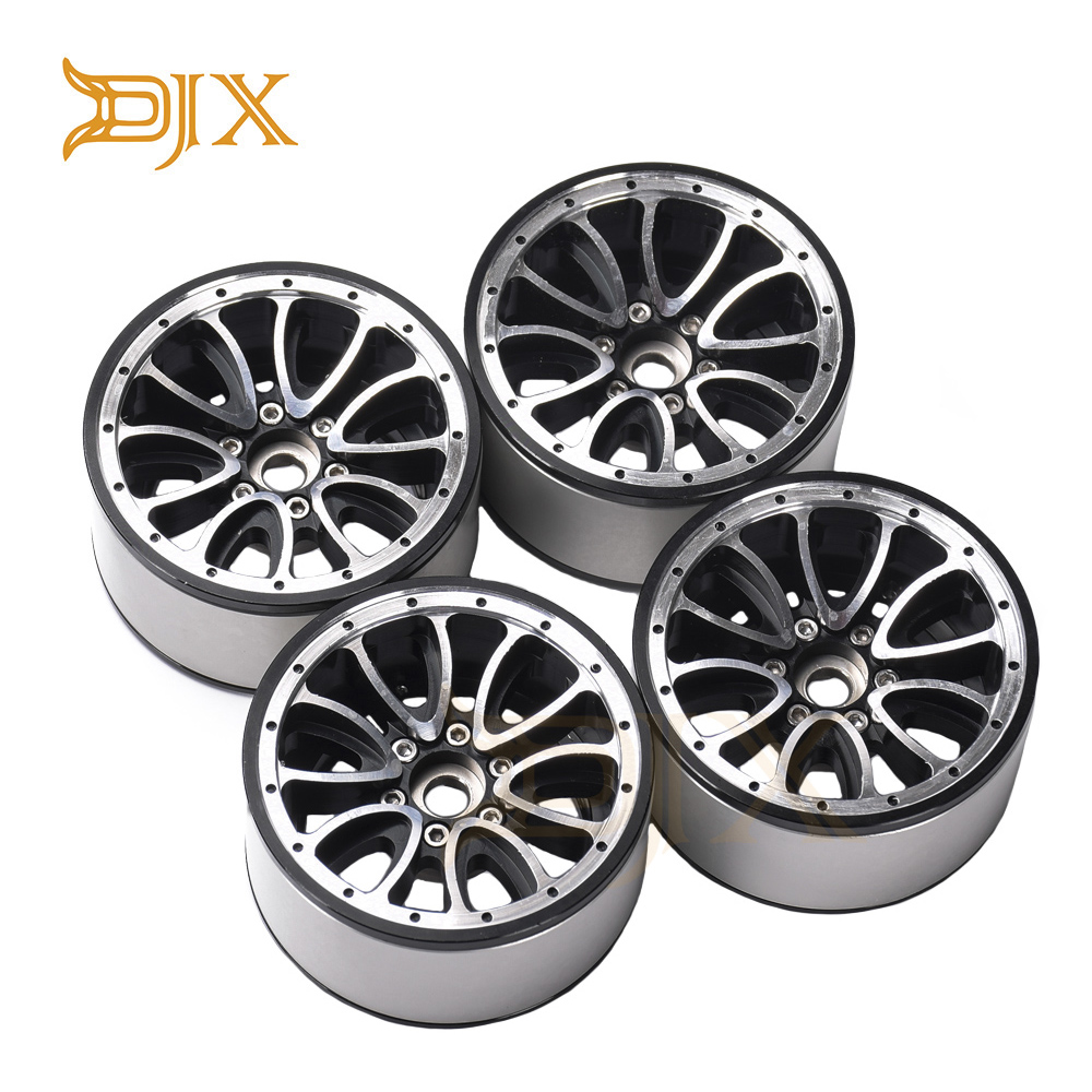 DJX 4PCS <font><b>6</b></font> <font><b>Spoke</b></font> Type 2.2 inch beadlock <font><b>wheel</b></font> for 1/10 RC Crawler Car Axial Wraith SCX10 Traxxax Trx4 image