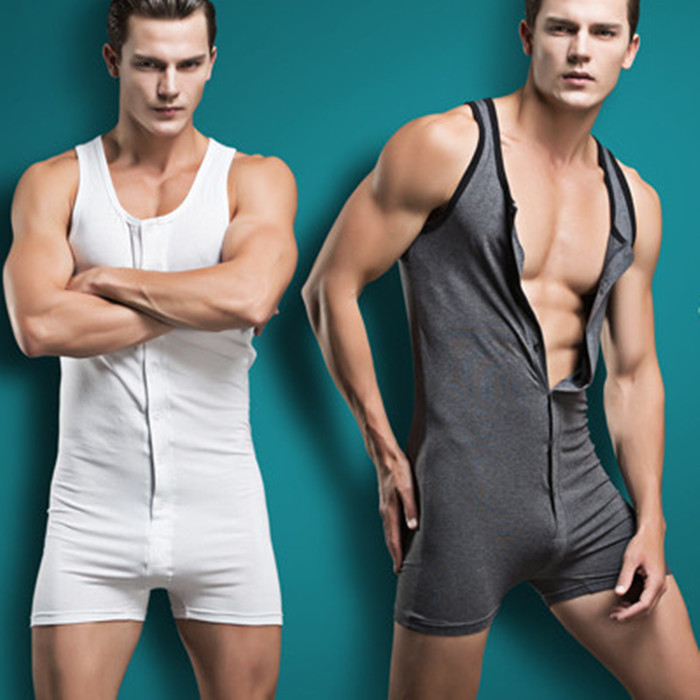 Cotton Comfortable Sexy Men One-piece Pajamas Home Pants Cool Man Rompers