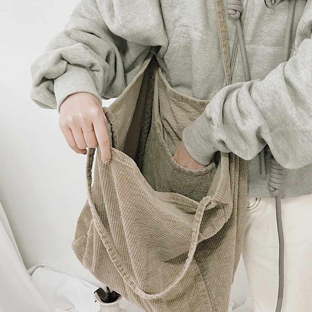 Kadın kadife tuval Tote çanta kadın bez büyük kapasiteli Tote genç bayanlar Casual alışveriş çantası kızlar için yeniden kullanılabilir poşet E3