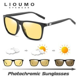 Image 2 - 스퀘어 브랜드 변색 선글라스 편광 된 여성 포토 크로 믹 안경 하루 밤 비전 운전 남자 태양 안경 UV400