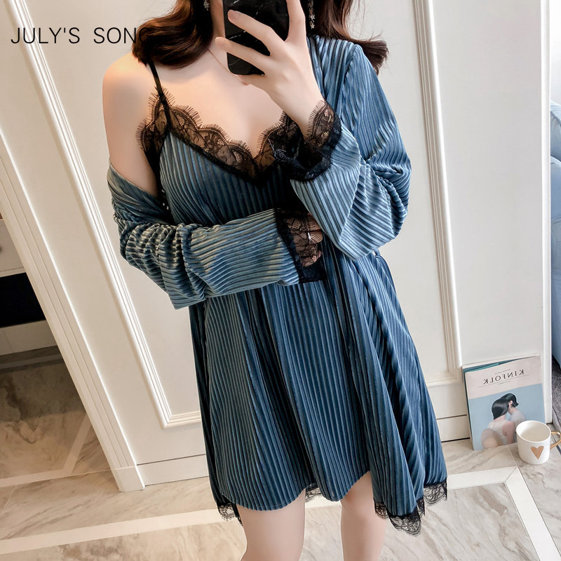 JULY'S SONG Winter Women Pajamas Set Gold Velvet Robe Gown Set  Autumn Sexy Lace Sling 2 Peices Women Sleepwear Pajamas Bathrobe