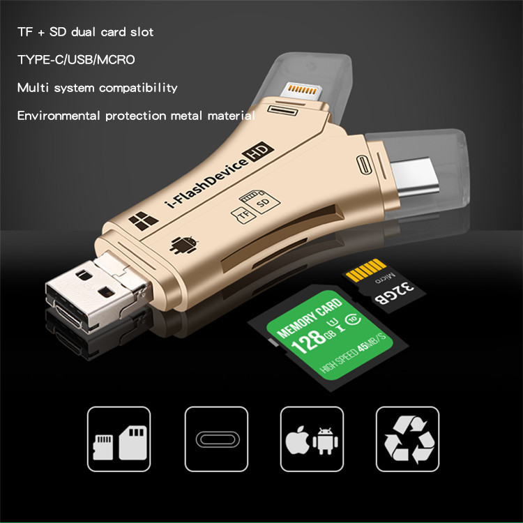Y-type TF SD Card Reader Type-C Android Lightning Mobile Multi-functional OTG Card Reader In One
