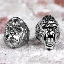 Bagues en acier inoxydable pour hommes, singe gorille, Punk Hip Hop, Cool, personnalité, bijoux pour petit ami, cadeau créatif, vente en gros