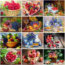 Fruit Flower DIY 5D Diamond Painting Cross Stitch Mosaic Diamond Embroidery Full Round Resin Picture of Rhinestone Home Decor(China)