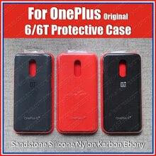 A6013 الرسمية OnePlus 6t الأصلي 1 + 6T مفصل سيليكون الحجر الرملي نايلون كاربون الوفير أغلفة جلدية