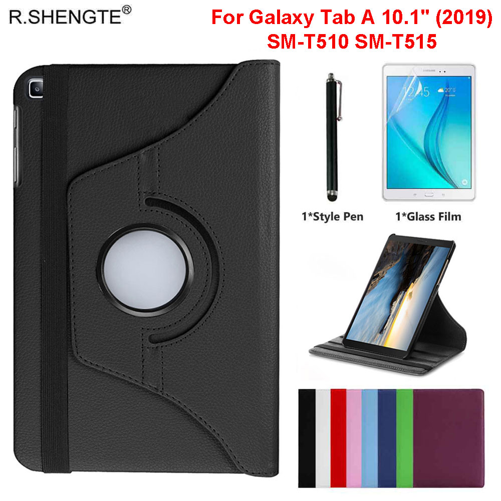 360 Rotating <font><b>Case</b></font> For <font><b>Samsung</b></font> Galaxy Tab A 10.1 2019 Tablet SM-<font><b>T510</b></font> SM-T515 10.1'' <font><b>Case</b></font> Slim Leather Stand Cover With Pen+Film image