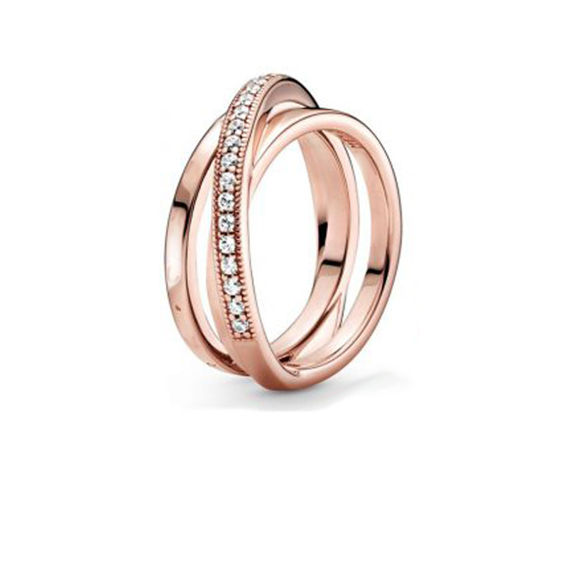 Bague en argent Sterling 2020, Signature croisée sur Triple bande, fiançailles, mariage, bijoux, cadeau, nouveau 925 3