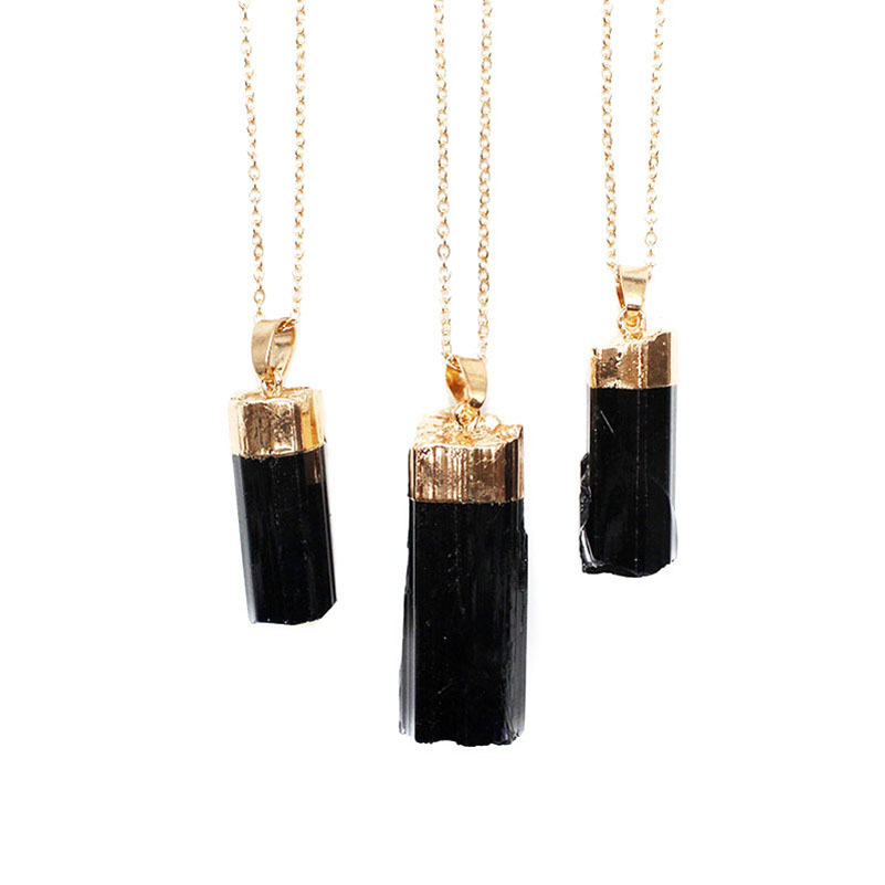 Natural Black Pillar Tourmaline Stone Pendant Rough Original Cylindrical Energy Pendant For Woman And Man Gift Fashion Jewelry