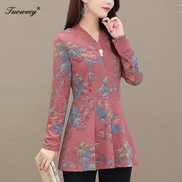 5XL Autumn Chiffon Blouse Shirts Casual floral Loose elegant v neck long Sleeve Floral Print Tops blusas blouse 2020 women 1