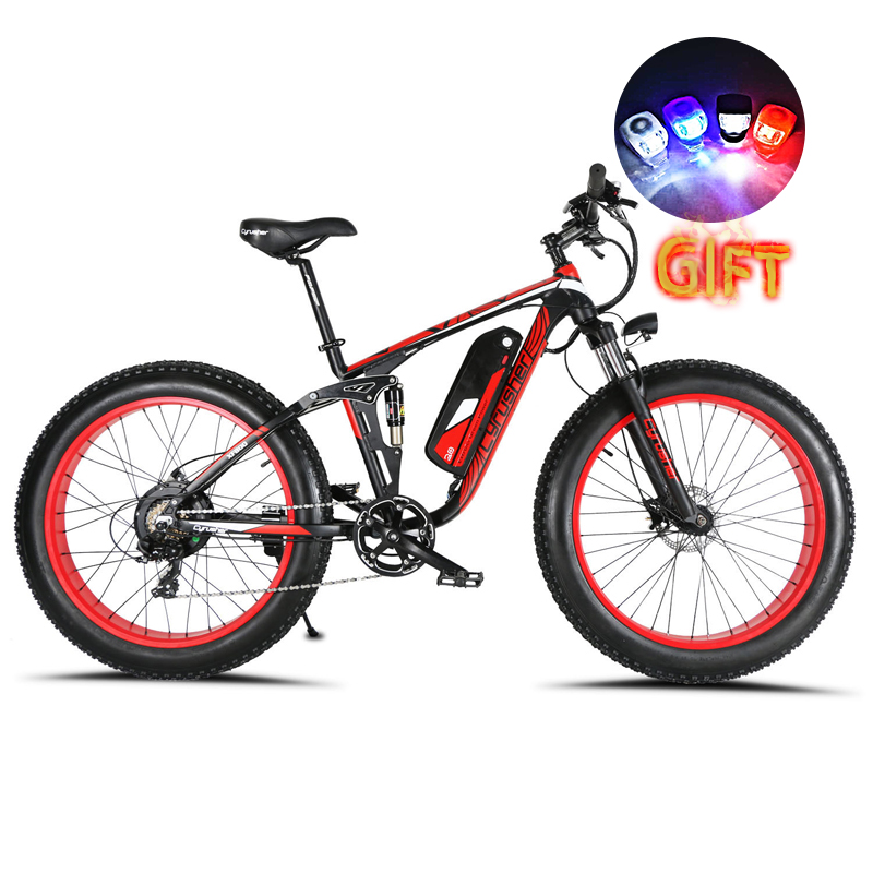 Cyrusher XF800 1000W 48V Electric Bike 7 Speeds Full Suspension frame electronic bicycle Smart Computer LCD odometer