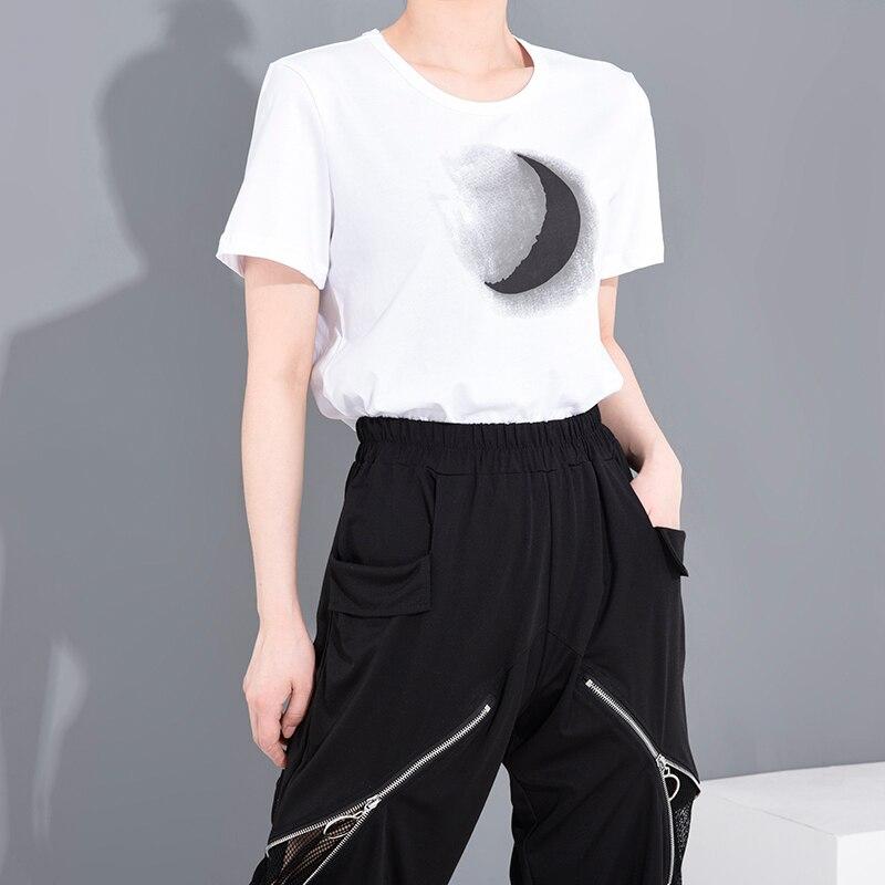 [EAM] Women White Pattern Printed Temperament T-shirt New Round Neck Short Sleeve  Fashion Tide  Spring Summer 2020 1W03100 4