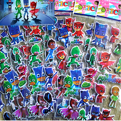 Pj Mask 3D Model Stickers Catboy Owlette Gekko Children Paste Puzzle Masked Cartoon Reward Waterproof Bub Stickers Gift For Kid