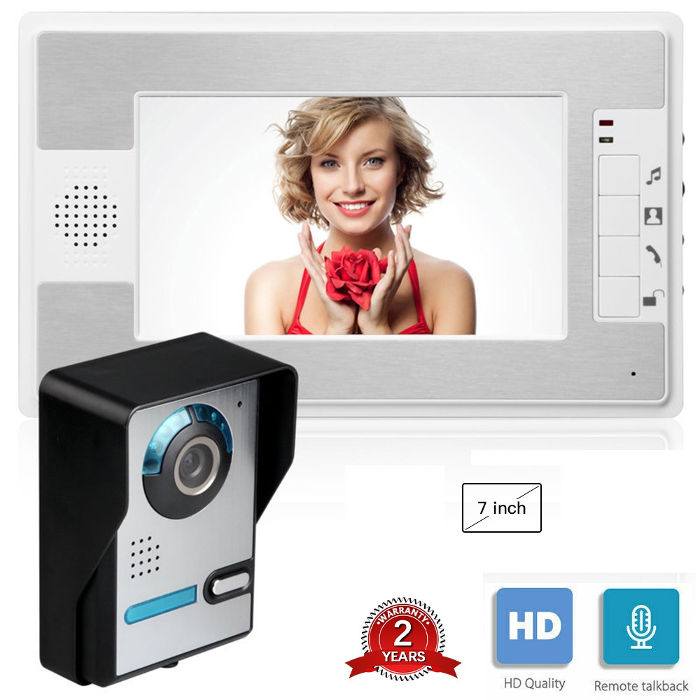 7 Inch Wired Video Doorbell Intercom Security System with 1 Monitor door camera infared ir home apartment video doorphone