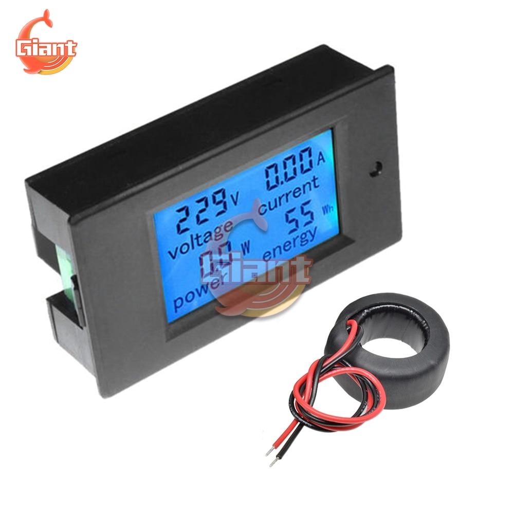 Цифровой вольтметр Амперметр с ЖК-дисплеем, амперметр, измеритель мощности, кВтч, ватт, тестер мощности, 80-260 В переменного тока, 6,5-100 В постоя...