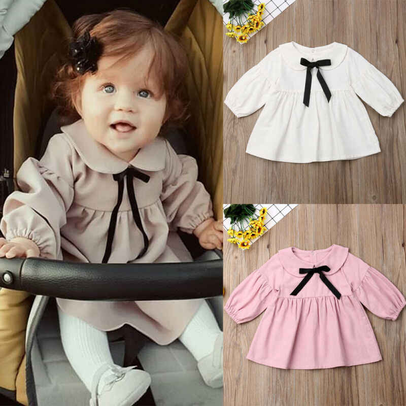 Toddler Kid Baby Girl Solid Long Sleeve Dress Lace Ruffle Party Fashion Cute Princess Cotten Blend quality Dress Clothes 6M-3T