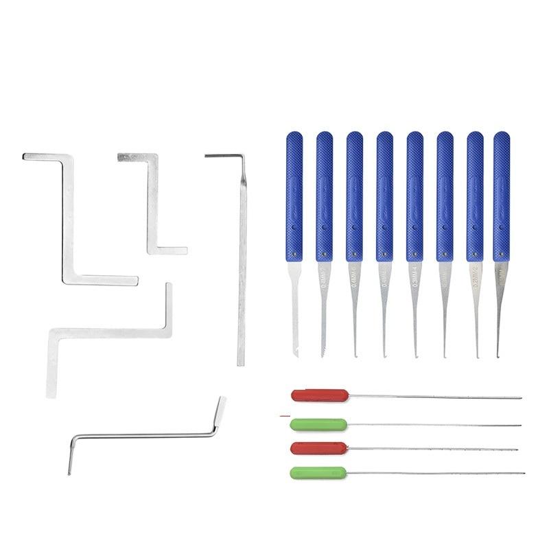 17PCS Locksmith Supplies Hand Tools Lock Pick Set Row Tension Wrench Tool Broken Key Auto Extractor Remove Hook Hardware