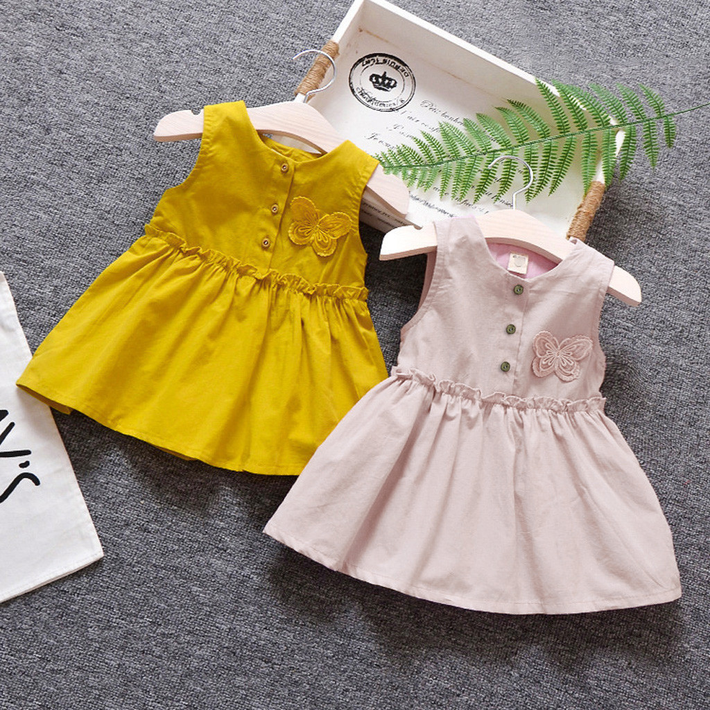 Fashion Baby Girl Dress Cotton O-neck Regular Toddler Kids Girls Solid Sleeveless Butterfly Sundress Princess Free Shipping H5