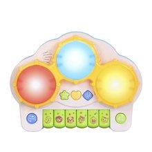 Электрический пианино ручной барабан два в одном музыка светящиеся дети ПЭТ барабан детские барабаны музыкальные игрушки подарки малышам клавиатура день рождения