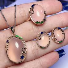 Natural white jade pendant ring earring with 925 sterling silver set jade pendant necklace jade ring jade set rose gold(China)