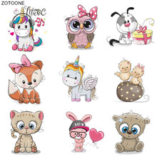 ZOTOONE Iron on Cute Animal Patch Transfers for Clothing T-shirt Diy Unicorn Owl Cat Bear Stickers Heat Transfers Appliques G(China)