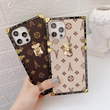 Fashion Square Leather Phone Case For For iPhone 12mini 11 Pro XS MAX XR 7 8 Plus SE Luxury Geometric cover For