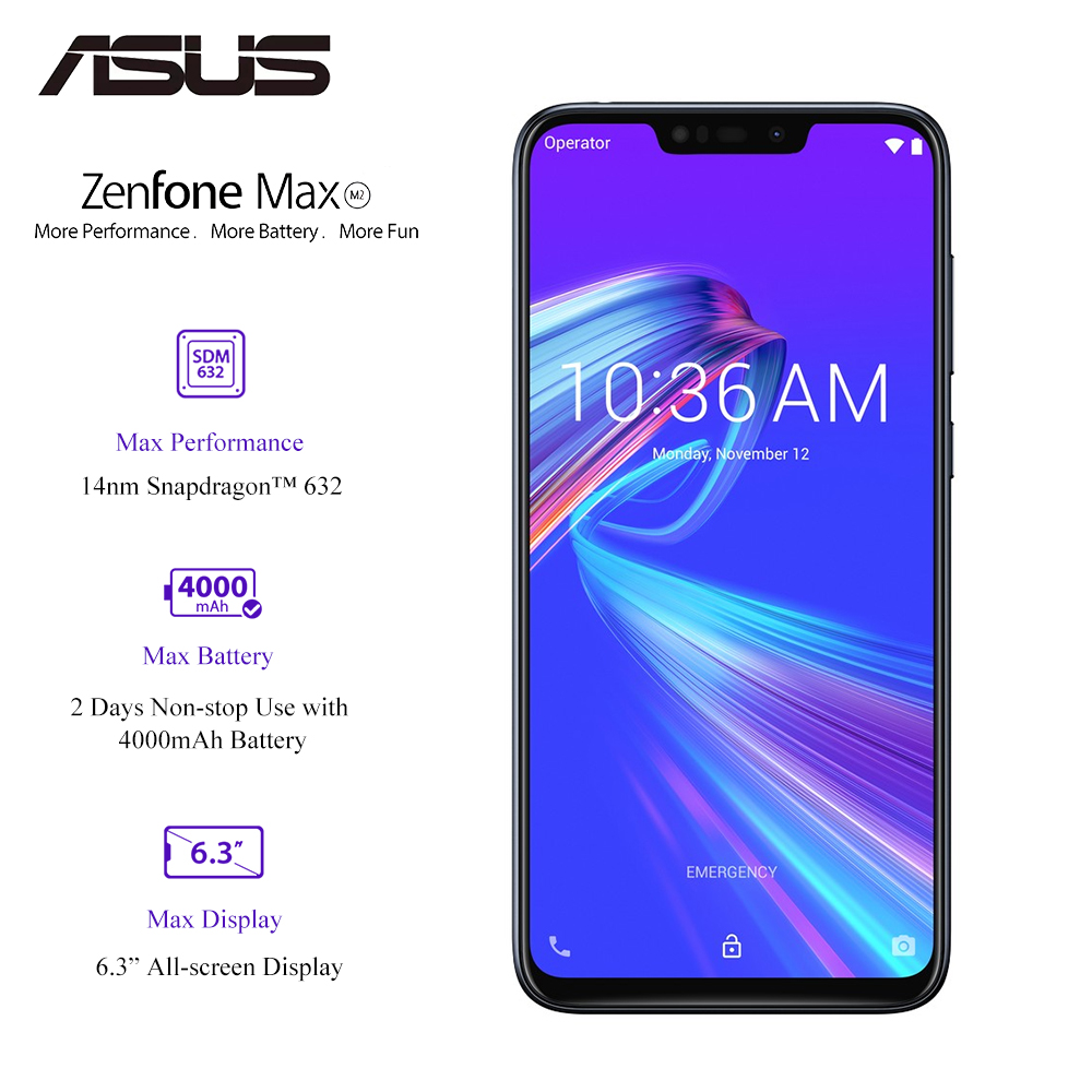 Original ASUS Zenfone Max M2(ZB633KL) 3GB RAM 32GB ROM 4000mAh Quick Charging Snapdragon 632 OTA Update