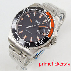 Luxury 43mm black dial date black bezel automatic movement mens watch