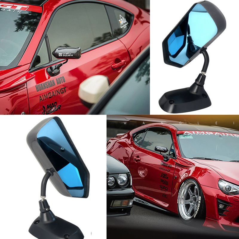F1 Style Carbon Fiber Blue Mirror Metal Bracket Side Mirror Universal Racing Drift Car Side Rearview Mirror-in Mirror & Covers from Automobiles & Motorcycles    1