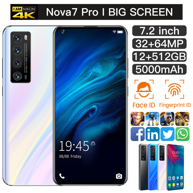Newest NOVA7 PRO Smartphone 7.2 Inch HD Large Screen Smart Phone 5000mAh 512G ROM Mpbile Phone Global Unlocked Dual Sim Phone 3