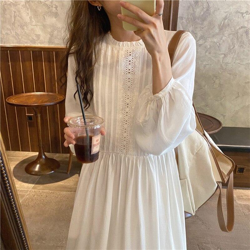 H598331eb399b499e8f18ac4720cbe1441 - Autumn O-Neck Lantern Sleeves Loose Lace Solid Dress