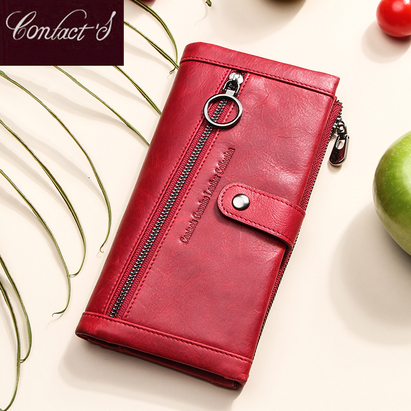 Contact's 100% Genuine Leather Wallet Women Luxury Coin Purse Wallets Femal Portomonee Rfid Card Holder Phone Bag Cartera Mujer