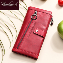 Contacts 100% portefeuille en cuir véritable femmes luxe moraillon porte monnaie Rfid porte carte portefeuilles pour pochette pour femmes sac Cartera Mujer